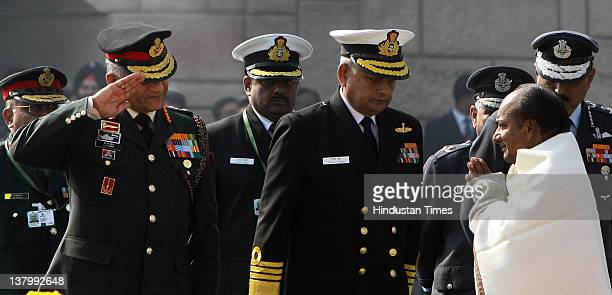 Defence Minister A K Antony Army Chief General VK Singh Navy Chief Admiral Nirmal Verma and Air Chief Marshal NAK Browne pay homage to Mahatma Gandhi...