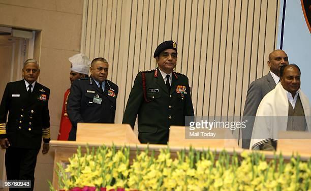 Defence Minister AK Anthony Chief of Army Staff Lt Gen Deepak kapoor Air Chief Marshal Pradeep Vasant Naik and Navy Chief Admiral Nirmal Verma at the...