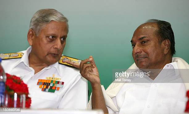 Defence minister AK Antony and Navy Chief Admiral Nirmal Kumar Verma during the Raksha Mantri's Excellence award 20092010 in new delhi on Monday