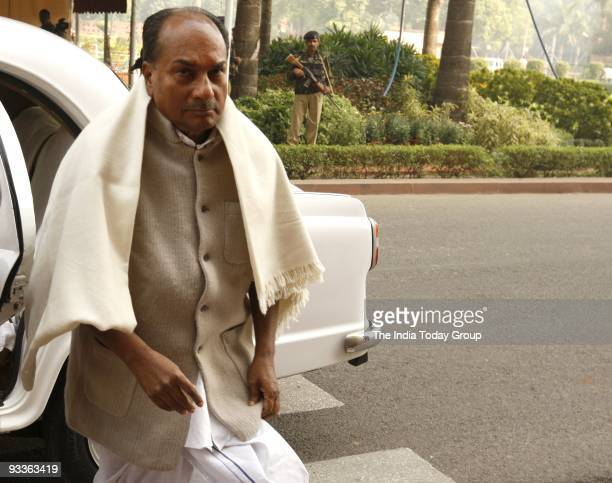 Defence Minister A.K. Antony arrives at Parliament House in New Delhi on Monday, November 23, 2009.