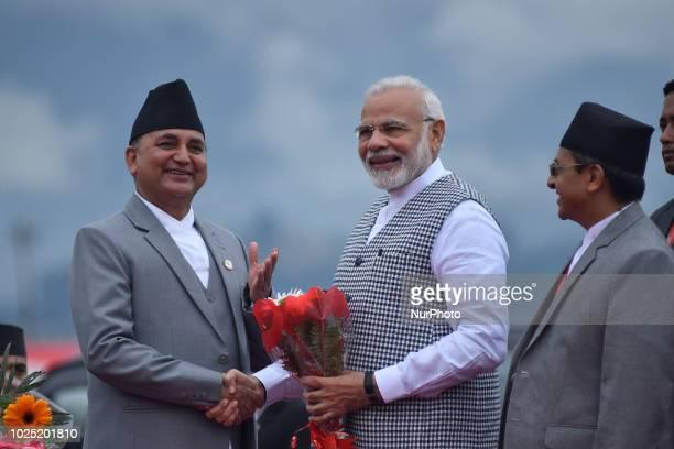 Defence Minister Ishowor Pokhrel welcomes Prime Minister of India Narendra Modi for BIMSTEC 2018 in Tribhuwan International Airport Kathmandu Nepal...
