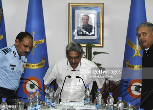 Defence Minister Manohar Parrikar , Air Chief Marshal Arup Raha, PVSM, AVSM, VM, ADC , Minister of state Defence Rao Inderjit Singh during the...