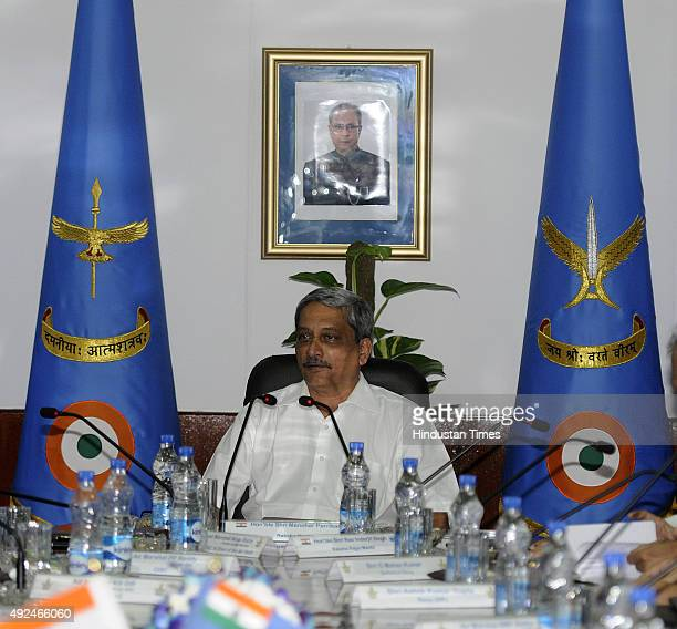 Defence Minister Manohar Parrikar during the inaugural session of Indian Air Force Commanders Conference at Air Headquarters on October 13, 2015 in...
