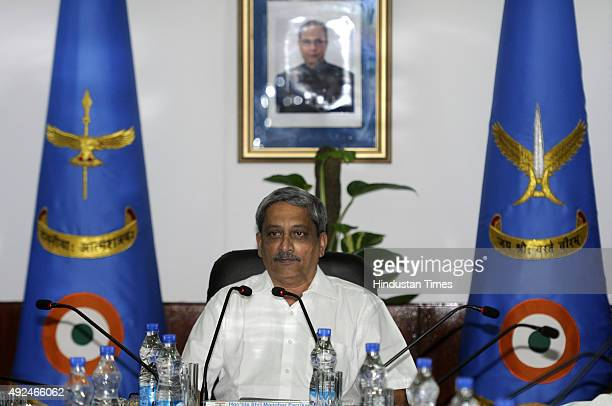 Defence Minister Manohar Parrikar during the inaugural session of Indian Air Force Commanders Conference at Air Headquarters on October 13 2015 in...