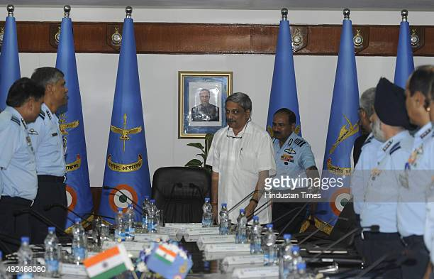 Defence Minister Manohar Parrikar with Air Chief Marshal Arup Raha, PVSM, AVSM, VM, ADC arrives for inaugural session of Indian Air Force Commanders...