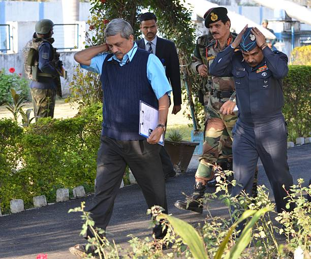 Defence Minister Manohar Parrikar with Indian Army Chief Dalbir Singh Suhag Indian Air Force Chief Marshal Arup Raha arrives at Pathankot Air Base...
