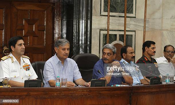 Defence Minister Manohar Parrikar with MoS Rao Inderjit Singh Navy Chief Admiral R K Dhowan Air Chief Marshal Arup Raha and Army Chief General Dalbir...