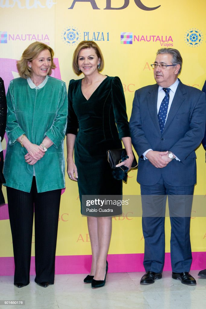 Defence Minister Maria Dolores de Cospedal (C) and Interior Minister Juan Ignacio Zoido (R) attend the 'Premio Taurino ABC' awards at the ABC Library on February 20, 2018 in Madrid, Spain.
