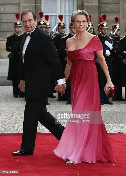 Defence Minister Michelle AlliotMarie and Patrick Ollier arriving at the Elys��e for the state visit of King Juan Carlos of Spain to France