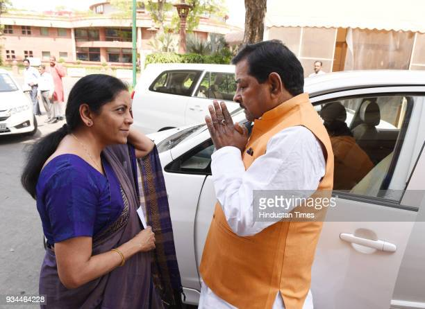 Defence Minister Nirmala Seetharaman with BJP Leader Bharat Singh during the Budget Session of Parliament on March 19 2018 in New Delhi India The...
