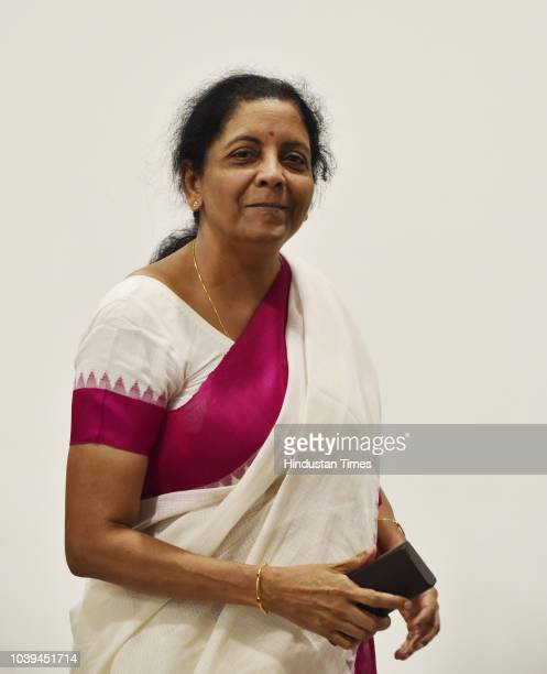Defence minister Nirmala Sitharaman arrives for an off the record meeting with media personnel at BJP headquarters on September 24 2018 in New Delhi...