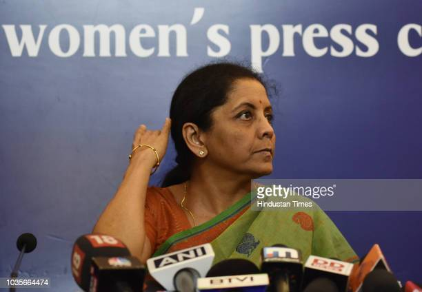 Defence Minister Nirmala Sitharaman interacts with women journalists at Indian Women's Press Corps on September 18 2018 in New Delhi India