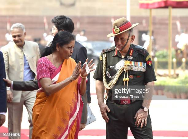 Defence Minister Nirmala Sitharaman with army chief General Bipin Rawat after the ceremonial reception for South Korea's President Moon Jaein at the...