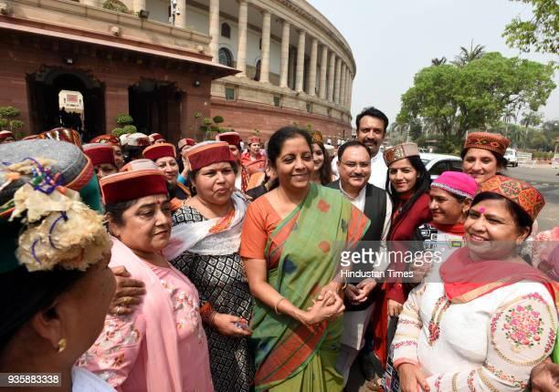 Defence Minister of India Nirmala Sitharaman and Union Minister of Health and Family Welfare Jagat Prakash Nadda meet with Himachal pradesh women...