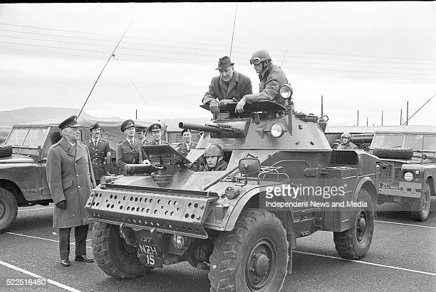 Defence Minister Paddy Donegan,TD reviewing troops at Letterkenny,Co. Donegal. . .
