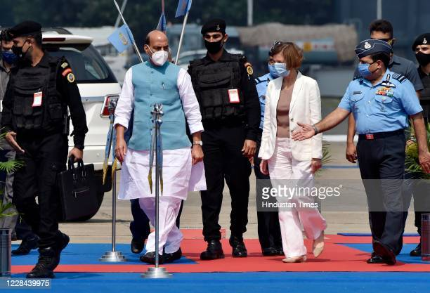 Defence Minister Rajnath Singh and French Armed Forces Minister Florence Parly arrive to witness the air display of Rafale aircrafts during its...