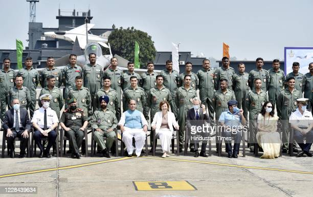 Defence Minister Rajnath Singh, Minister of Armed Forces of France Florence Parly, Air Chief Marshal Rakesh Kumar Singh Bhadauria and IAF officers...