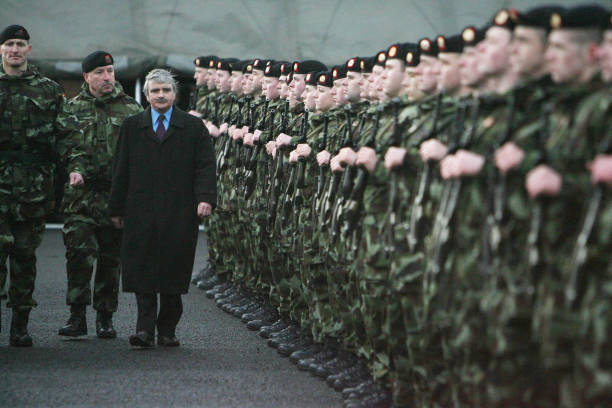 Defence Minister Willie ODea Reviews 400 Troops From The 99 Infantry Battalion Bound For