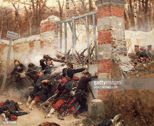Defence of Longboyau's gate, chateau of Buzenval, October 21 by Alphonse de Neuville . Franco-Prussian War, France, 19th century.