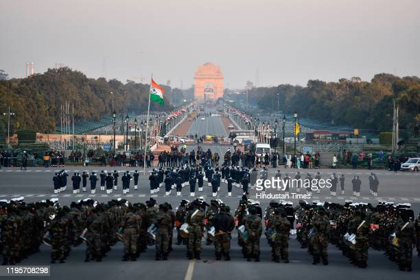 Defence personnel rehearse for the Beating Retreat ceremony ahead of the Republic Day parade at Raisina Hills on January 24 2020 in New Delhi India