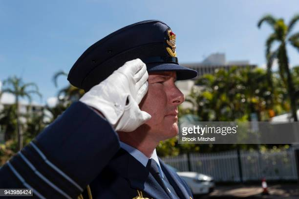 Defence Personnel salute the arrival of Prince Charles The Prince of Wales at Bicentennial Park on April 10 2018 in Darwin Australia The Prince of...