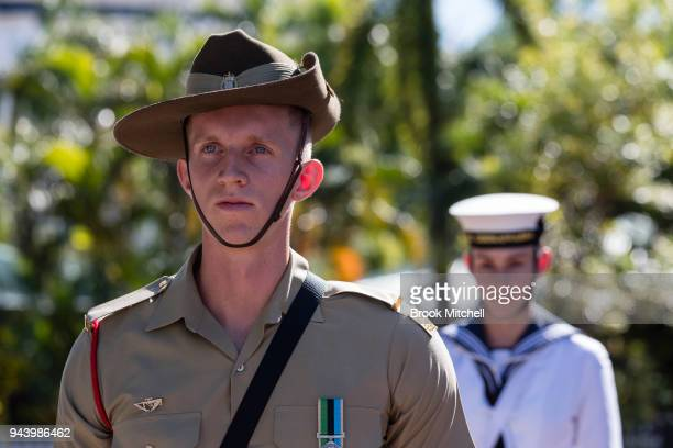 Defence Personnel wait for the arrival of Prince Charles The Prince of Wales at Bicentennial Park on April 10 2018 in Darwin Australia The Prince of...