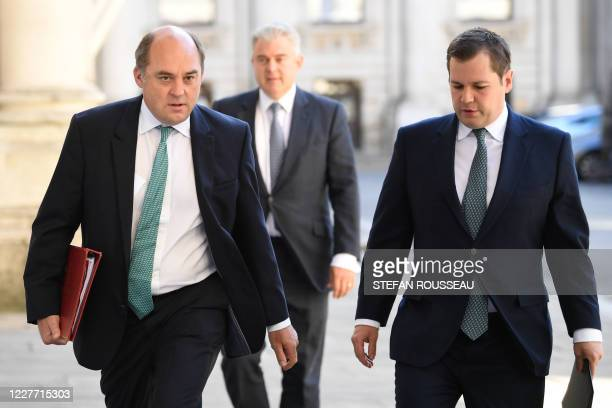 Defence Secretary Ben Wallace and Housing Secretary Robert Jenrick arrive at the Foreign and Commonwealth office to participate in the first in...