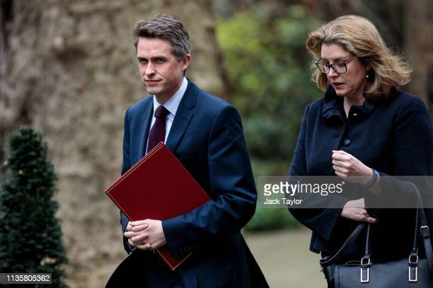 Defence Secretary Gavin Williamson and International Development Secretary Penny Mordant arrive at Number 10 Downing Street on April 8 2019 in London...