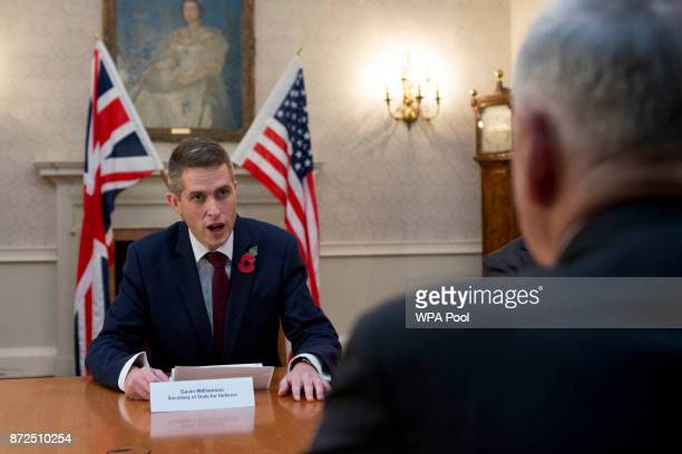 Defence Secretary Gavin Williamson and US Defence Secretary James Mattis during a bilateral meeting at the Ministry of Defence following NATO and...