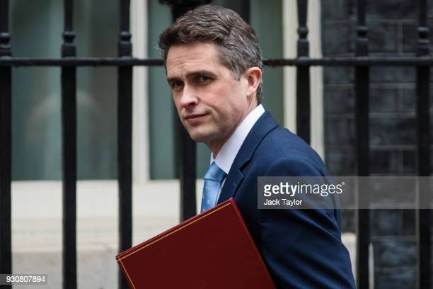 Defence Secretary Gavin Williamson arrives ahead of a National Security Council meeting at Downing Street on March 12 2018 in London England British...