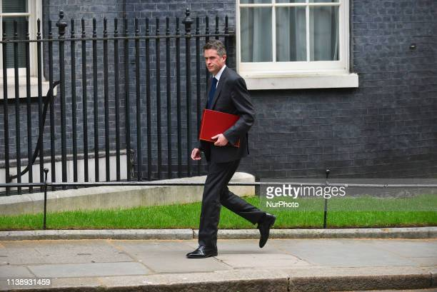 Defence Secretary Gavin WIlliamson arrives at 10 Downing Street to attend the first Cabinet Meeting after Parliament recess London on April 23 2019