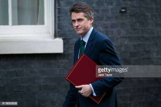 Defence Secretary Gavin Williamson arrives at Downing Street for a Brexit subcommittee meeting on February 8 2018 in London England British Prime...