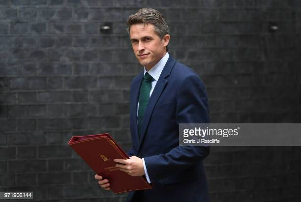 Defence Secretary Gavin Williamson arrives for a cabinet meeting at 10 Downing Street on June 12 2018 in London England