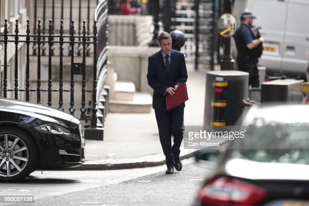 Defence Secretary Gavin Williamson arrives for a cabinet meeting at 10 Downing Street on July 10 2018 in London England Ministers are meeting for a...