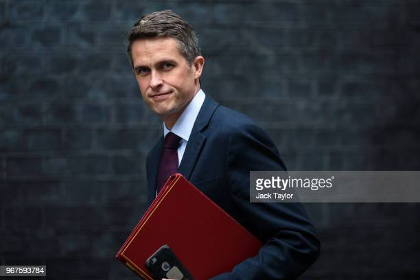 Defence Secretary Gavin Williamson arrives for a Cabinet meeting chaired by British Prime Minister Theresa May at 10 Downing Street on June 5 2018 in...
