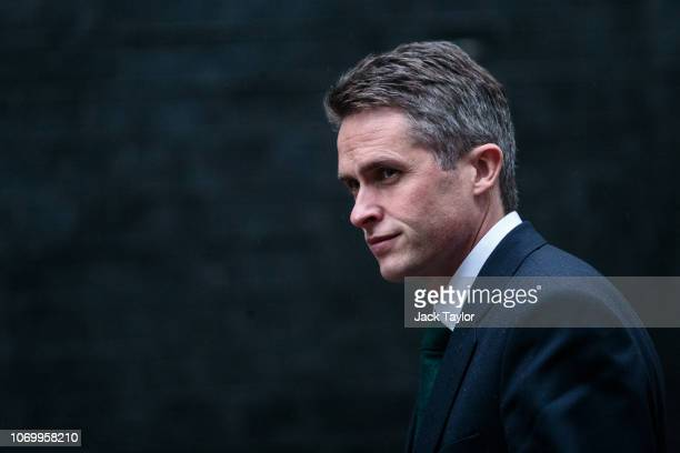 Defence Secretary Gavin Williamson arrives for a cabinet meeting on Downing Street on November 20 2018 in London England The DUP abstained or backed...