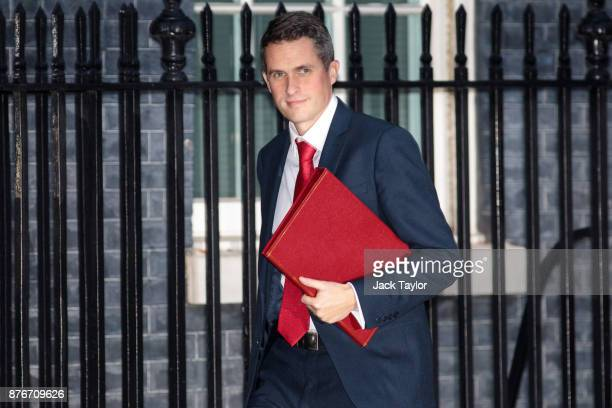 Defence Secretary Gavin Williamson arrives for a meeting at Downing Street on November 20 2017 in London England British Prime Minister Theresa May...