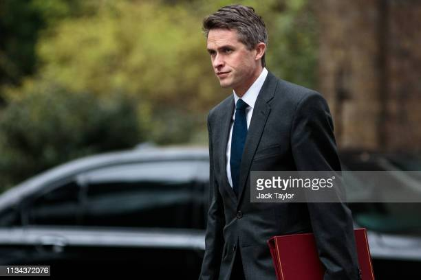 Defence Secretary Gavin Williamson arrives for the weekly Cabinet meeting on April 2 2019 in London England Cabinet ministers are meeting Downing...