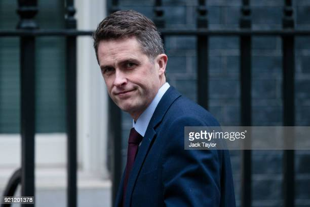 Defence Secretary Gavin Williamson arrives in Downing Street for the weekly cabinet meeting on February 20 2018 in London England