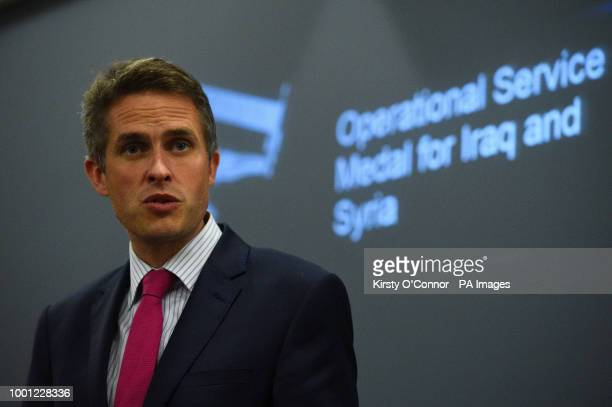 Defence Secretary Gavin Williamson gives a speech before presenting the new Operation Shader medal to servicemen and women who have contributed to...