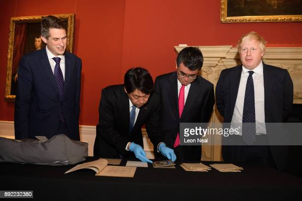 Defence Secretary Gavin Williamson Japanese Defence Minister Itsunori Onodera Japan's Foreign Minister Taro Kono and Britain's Foreign Secretary...