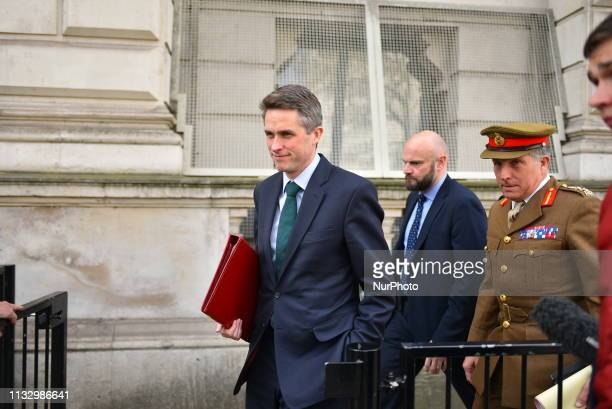 Defence Secretary Gavin Williamson leaves 10 Downing Street after attending the weekly Cabinet Meeting London on March 26 2019 The cabinet met today...