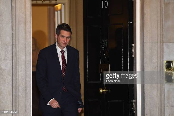 Defence Secretary Gavin Williamson leaves 10 Downing street after retaining his position as Prime Minister Theresa May reshuffles her cabinet on...