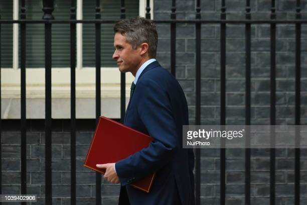 Defence Secretary Gavin Williamson of the British Government arrives at 10 Downing Street as they attend a cabinet meeting London on September 24...