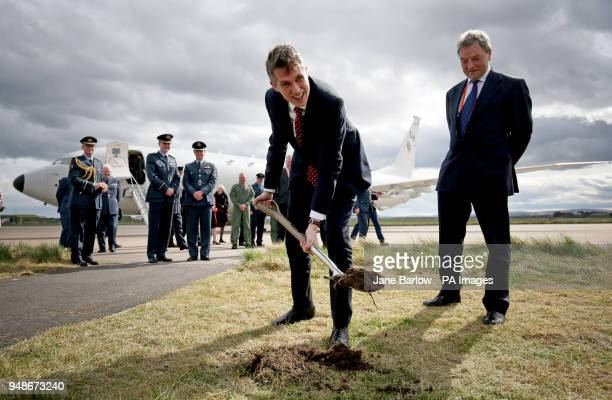 Defence Secretary Gavin Williamson performs the cutting of the sod during a visit to RAF Lossiemouth Moray where he launched construction of a new...