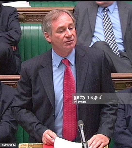 "Defence Secretary Geoff Hoon speaking in the House of Commons, outlining a ""restructuring"" of the armed forces. He said that four infantry battalions..."