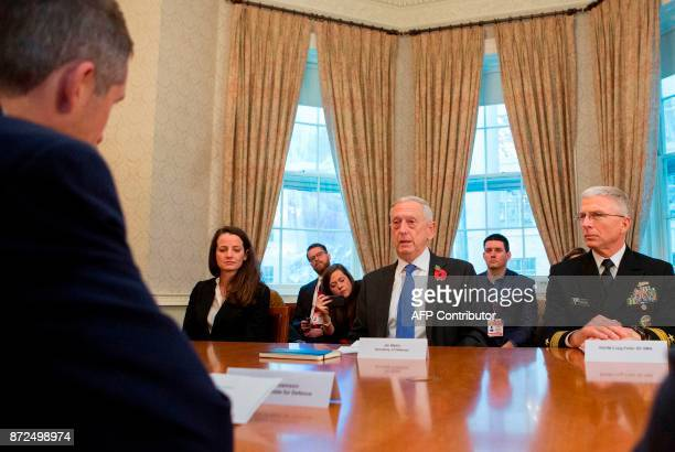US Defence Secretary James Mattis attends a meeting with Britain's Defence Secretary Gavin Williamson at the Ministry of Defence in central London on...