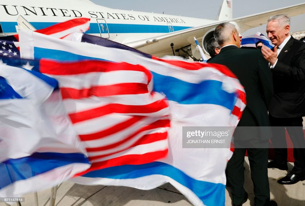 US Defence Secretary James Mattis (R) bids farewell to Israeli military dignitaries as he departs from Ben Gurion International Airport in Tel Aviv on April 21, 2017. /