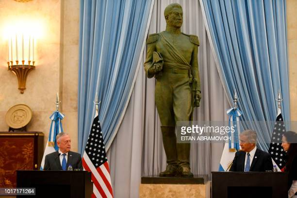 US Defence Secretary Jim Mattis and Argentina's Defence Minister Oscar Aguad offer a press conference at the Defence Ministry in Buenos Aires on...