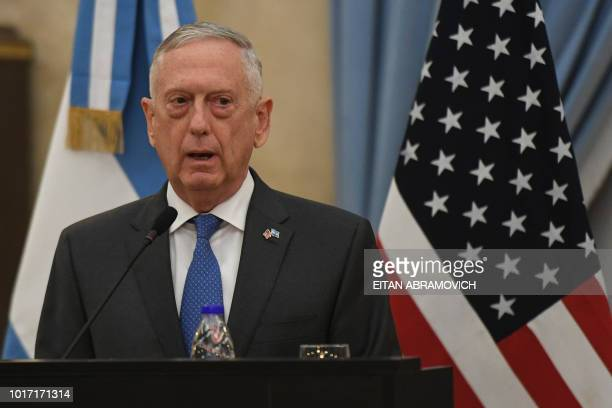 US Defence Secretary Jim Mattis speaks during a press conference offered along with Argentina's Defence Minister Oscar Aguad at the Defence Ministry...